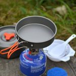 Camping Cookware Kit esterna Backpacking Gear & Trekking Cooking attrezzature 8pcs Kit Pan Pot de la marque ODOLAND image 3 produit