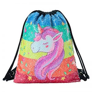 Deeplive Fashion Mermaid sacca Magic reversibile Sequin zaino Glittering Dance bag, borsa per la scuola, sport all' aria aperta per ragazze donne bambini, Unicorn de la marque Deeplive image 0 produit